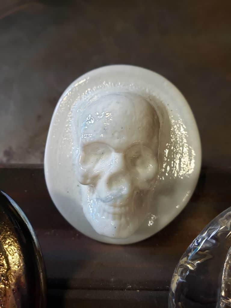 Hand-made white glass skull