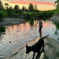 Sunset at the swimming hole 1824 House Inn + Barn